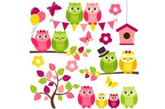 Summer Owls by LoveGraphicDesign on Creative Market