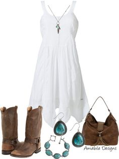 "I love the idea of a white cotton sun dress, a jean jacket and some cowboy boots! Although, I could never pull off the ""cowgirl"" look! #cityslicker"
