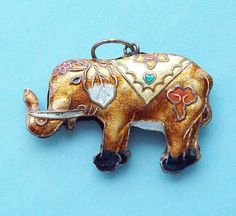 1970s Elephant Pendant Chinese Cloisonne by SterlingDelights, $20.00