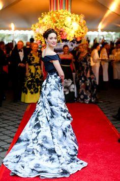 Emmy Rossum wears Carolina Herrera dress to the New York Botanical Garden's 2015 Conservatory Ball. Photo: BFA