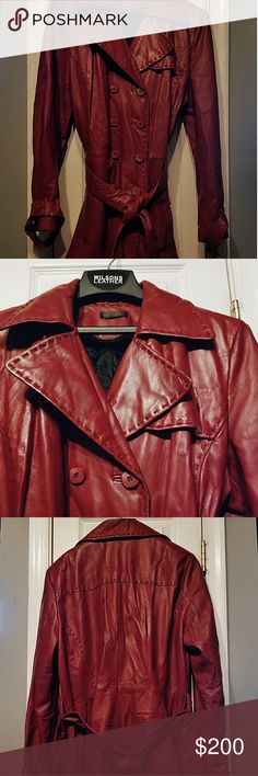 Red Wilsons Leather Coat Luxurious super soft dark red lambskin leather coat from Wilsons Leather, A gift that was only worn a handful of times and has been safely stored, I counted four very subtle small marks two on the left side, one on right and one on the left arm, shown in pictures 5-8 Wilsons Leather Jackets & Coats
