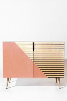Allyson Johnson Pink n stripes Credenza | DENY Designs Home Accessories