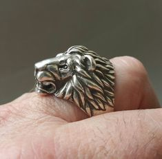 Bague tête de lion bague de Lion pour homme par yurikhromchenko