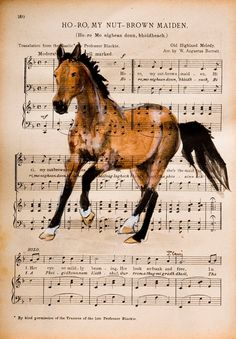 "Original Watercolor Painting on Antique Book Page from The Scottish Student Song Book 10"" x 7""    ""Horse II""    Hand Painted and signed by the artist Julia Cami.  Approx. Size: 10 1/2"" x 7 1/2""    UNFRAMED    © Art Enchanted Woods"