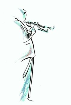 Jazz Musician Male Artist with Trumpet by patrickaldridge on Etsy, £18.00