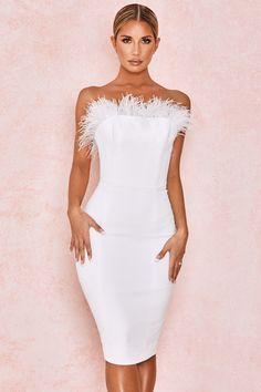 clothing  bodycon dresses  'leila' ivory mesh strapless