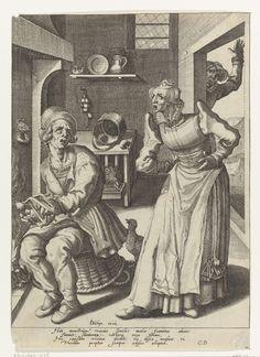 Een kijvende vrouw en een spinnende man, Jacob de Gheyn (II), Cornelius Duyn, 1593 - 1597