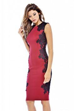 Lace Crochet Side Midi Dress