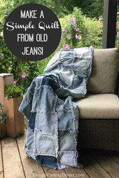 Sewing Gifts This denim quilt is perfect for cool evenings and picnics! I love the casual cosy quality of my blue jean blanket. Here's how to make your own denim rag quilt - a perfect, easy sewing project to reuse old jeans! Denim Quilts, Denim Quilt Patterns, Blue Jean Quilts, Flannel Quilts, Denim Scraps, Fabric Scraps, Easy Sewing Projects, Sewing Projects For Beginners, Sewing Tips