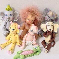 Biscuit: tema safari ou peças para decoração de quartos de bebês.Todos modelados à mão por Le Biscuit Denise Marrach com Simone Marrach