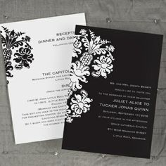 Black Damask Silhouette Wedding Invitation
