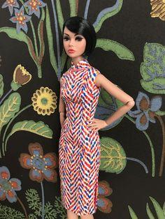 New cheongsam dress for Fashion Royalty Poppy Parker dolls, fits also Nippon Misaki,100% handmade