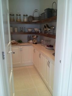 small walk in pantry idea. I like the under-self cupboards. Ask builder about these
