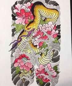 35 Ideas Tattoo Sleeve Sketch Design Tat For 2019 Japanese Snake Tattoo, Japanese Tattoo Designs, Japanese Sleeve Tattoos, Music Tattoos, Body Art Tattoos, Arm Tattoo, Rooster Tattoo, Japan Tattoo Design, Hannya Mask Tattoo