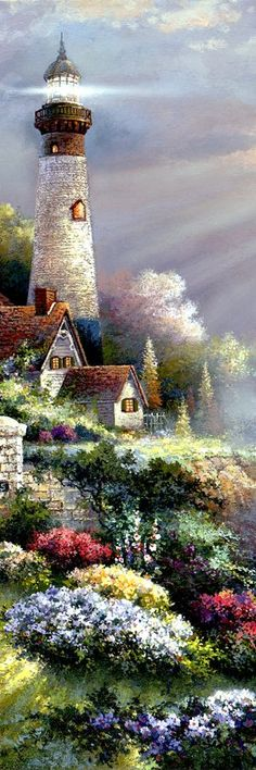 Lighthouse On Craggy Rock~James Lee Thomas Kinkade, Kinkade Paintings, Oil Paintings, Lighthouse Painting, Lighthouse Pictures, Pictures To Paint, Beautiful Paintings, Pretty Pictures, Painting Inspiration