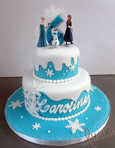 Two tier fondant cake with Frozen characters on top. Frozen Theme Cake, Frozen Party, Frozen Birthday, 3rd Birthday, Birthday Cakes, Birthday Ideas, Cake Pop Designs, Elsa Cakes, Sugar Craft