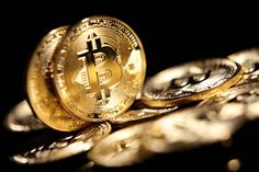 Photo about Golden Bitcoin digital currency, financial industry, Black background. Image of industry, cash, ebank - 67036730