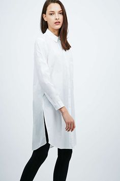 Light Before Dark Longline Poplin Shirt in White