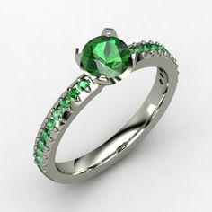 Round Emerald 18K White Gold Ring with Emerald   Sabrina Ring   Gemvara