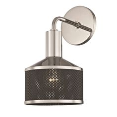Mitzi by Hudson Valley Yoko 1-light Polished Nickel Wall Sconce with Black Accents (Metal)