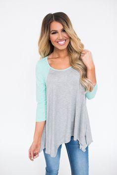 Asymmetrical Baseball Tunic- Grey/Mint - Dottie Couture Boutique