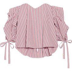 Caroline Constas Gabriella off-the-shoulder striped cotton bustier top