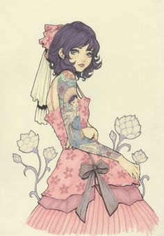 Tattoo Lolita Girl - Original Color Drawing by Jasmin Darnell Pretty Art, Cute Art, Colorful Drawings, Art Drawings, Lolita Anime, Bel Art, Art Mignon, Image Manga, Estilo Anime