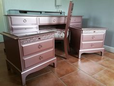 Metallic rose gold vintage Stag dressing table bedroom set created by Revivals and Restorations Ltd Dressing Table, Restoration, Dresser, Metallic, Vanity, Rose Gold, Bedroom, Inspiration, Furniture