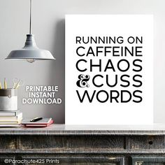 Caffeine Chaos and Cuss Words Printable Wall Art for Home, Office or Dorm Decor, Boss Gift – Office Organization At Work