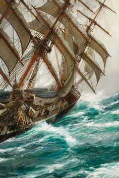 Montague Dawson (1895-1973) Wind in the Rigging oil on canvas 42 X 28 in