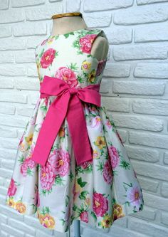 Vestido Infantil Festa Bege Rosa Floral