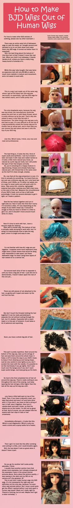 How to make BJD wigs from human wigs RodianAngel.devia … on deviantART men toupee women toupee Doll Wigs, Doll Hair, Clay Dolls, Bjd Dolls, Doll Making Tutorials, Human Wigs, Doll Tutorial, Pants Tutorial, Wig Making