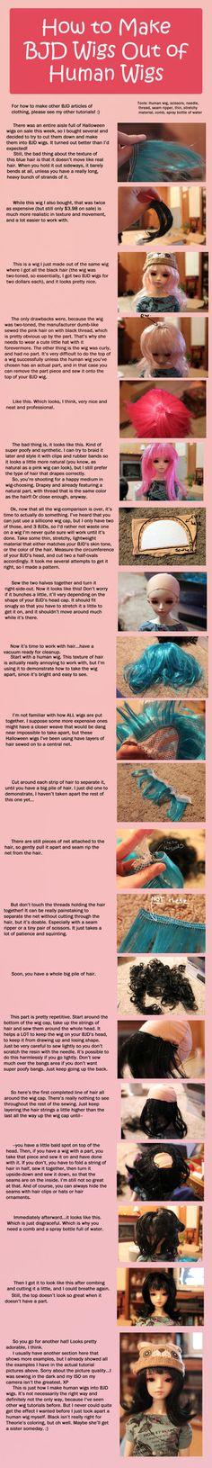 How to make BJD wigs from human wigs RodianAngel.devia … on deviantART men toupee women toupee Doll Wigs, Doll Hair, Ooak Dolls, Diy Doll, Doll Crafts, Doll Making Tutorials, Human Wigs, Doll Tutorial, Pants Tutorial
