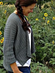 Hummelo by Martha Wissing.  This wonderfully textured modern cardi would be perfect for our elann Joie de Vivre DK!