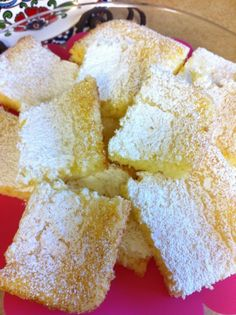 Two Ingredient Lemon Cake Bars  All you need is a box of Angel Food cake mix  and a can of lemon pie filling.  Just the two ingredients - hand mix together. Put in a UNGREASED 9x13 pan and bake at 350 for about 30 minutes or until top is golden brown and toothpick comes out clean. Sprinkle with powdered sugar while still warm. Cool completely and cut into squares.