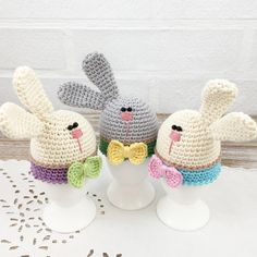 Set of 3 Bunny Gentleman Egg Warmers, Funny Egg Cozies, Crochet Egg Hats, Easter Egg Warmers, Spring Egg Cozies, Egg Cozy Set by TikvaBeauties on Etsy