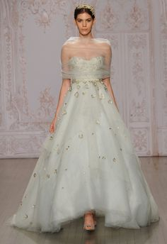 Gold Floral Mint A-Line Wedding Dress | Monique Lhuillier Fall 2015 | blog.theknot.com