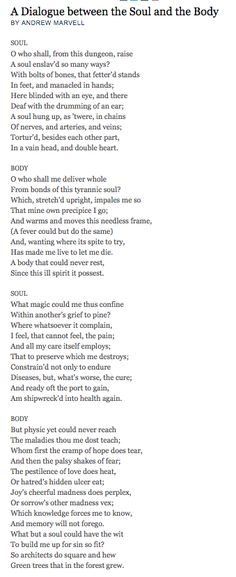 This Is The Poem I Am Choosing By Andrew Marvell, Published In 1681