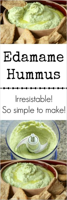 (Note to self: Trader Joe's has edamame hummus?) -Inspired by Trader Joe's edamame hummus, this delicious and healthy hummus recipe combines edamame with tahini, lemon juice and garlic. So easy, so yummy! Veggie Recipes, Appetizer Recipes, Whole Food Recipes, Vegetarian Recipes, Cooking Recipes, Healthy Recipes, Appetizers, Recipes With Hummus, Tapas Recipes
