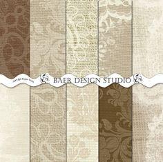 Natural BURLAP and LACE Digital Scrapbooking by BaerDesignStudio, $4.99