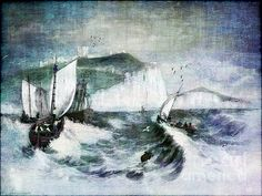 Cliffs of Dover by Lianne Schneider - digitally hand painted and textured from a reference black and white drawing in a book in the public domain circa 1840 At Fine Art America http://fineartamerica.com/featured/cliffs-of-dover-lianne-schneider.html