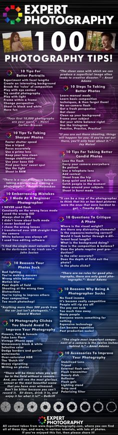 100 Photography Tips – Infographic! #BoxFrameCanvasPrints #BFCanvasPrints #photographytips