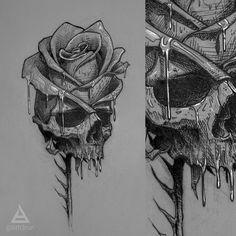 skull/rose sketch by @bth3run