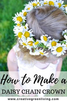 How to make a daisy chain flower crown DIY project. This is a great way to make a braided flower crown with daisies and wild flowers in the spring and summer. This is an easy free outdoor…