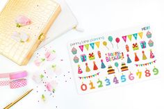 HE01 // Birthday Planner Stickers // Erin Condren Life Planner Stickers Plum Paper Planner Kikki K Filofax Happy Planner Inkwell Press planner stickers erin condren life planner reminder stickers functional stickers eclp stickers planner decorations birthday stickers happy birthday birthday reminders party stickers holiday stickers penny lane planning