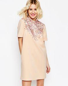 Image 1 ofASOS Encrusted Embellished Collar Short Sleeve Mini Shift Dress