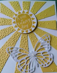 Sunny Day uses Silhouettes & Script Hostess Stamp Set, Butterfly thinlit Dies, Sunburst Thinlit Die, and Softly Falling Textured Embossing Folder. Supplies by Stampin' Up