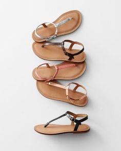 Napoli Italian Leather T-Strap Sandals in Apricot Leather. $118 [garnet hill]