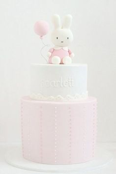 rabbit baby shower cake by hello naomi Baby Cakes, Baby Shower Cakes, Bolo Miffy, Miffy Cake, First Birthday Cakes, Birthday Ideas, 1st Birthday Cake For Girls, Birthday Cup, Birthday Parties