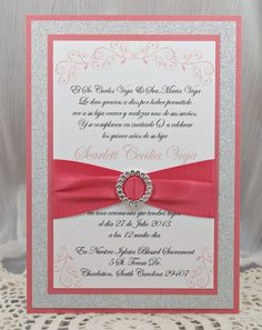 Coral Peach Quinceañera/Sweet Sixteen Invitation Full of Bling, Sparkle, and Dazzle-Custom & Handmade
